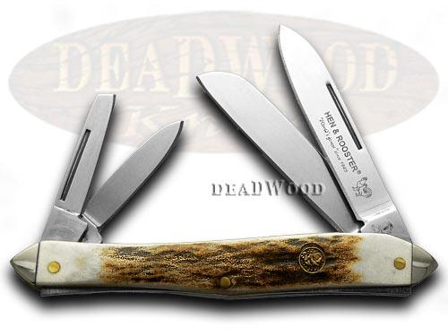Hen & Rooster Deer Stag Whittler Pocket Knife Knives