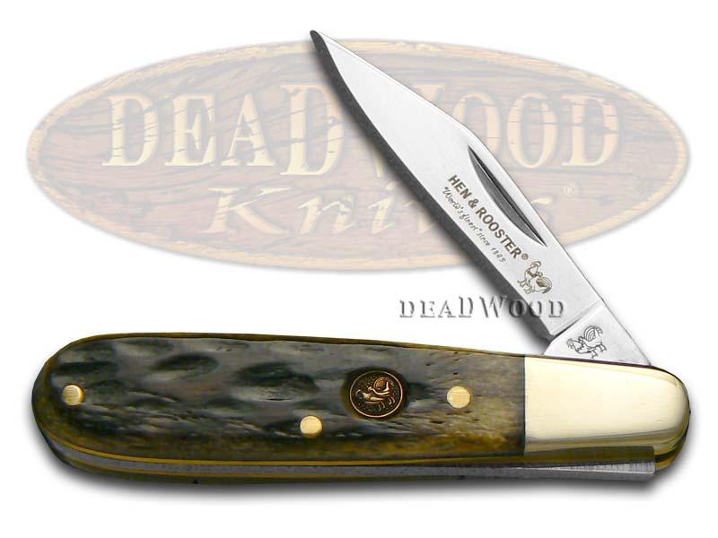 Hen & Rooster Antique Green Pickbone Barlow Stainless Pocket Knife Knives