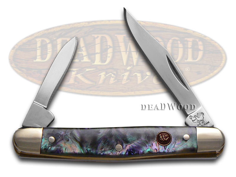 Hen & Rooster Imitation Abalone Celluloid Pen Stainless Pocket Knife
