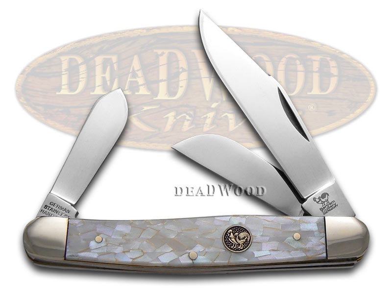 Hen & Rooster Ivory Quartz Celluloid Large Stockman Stainless Pocket Knife Knives