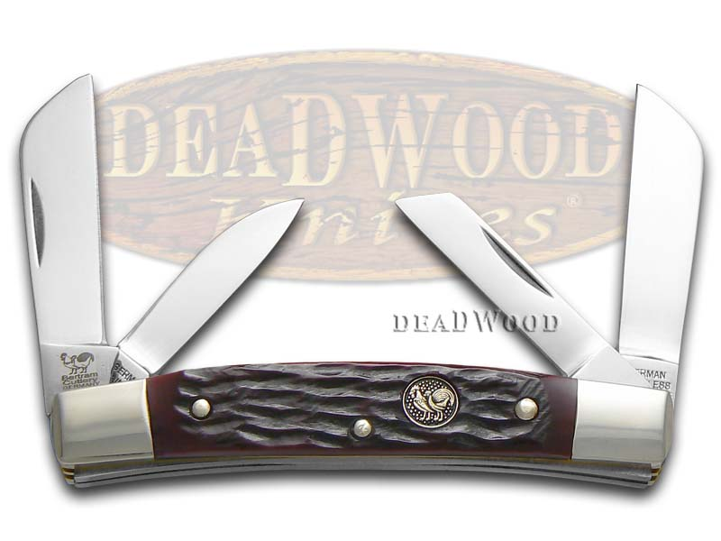 Hen & Rooster Jigged Brown Bone Congress Stainless Pocket Knife