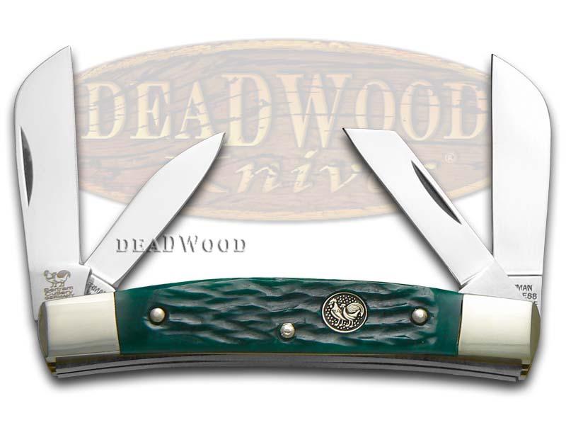 Hen & Rooster Jigged Green Bone Congress Stainless Pocket Knife