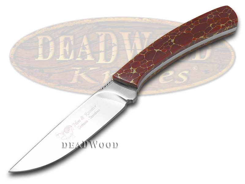 Hen & Rooster PAINTED PONY Red Matrix Stone Fixed Blade Hunter 1/100 Exotic Stainless Knife