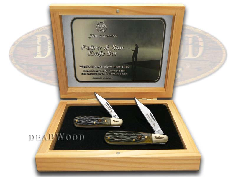 Hen & Rooster Father Son Set Jigged Antique Green Bone Barlow Stainless Pocket Knives