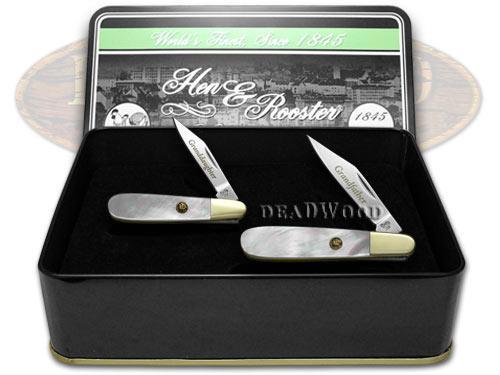 Hen & Rooster Grandfather Granddaughter Set Genuine Mother of Pearl 1/500 Barlow Pocket Knives