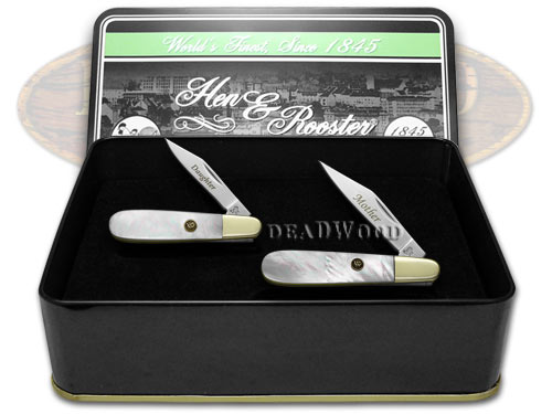Hen & Rooster Mother Daughter Set Genuine Mother of Pearl 1/500 Barlow Pocket Knife Knives