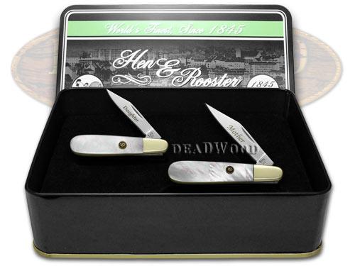 Hen & Rooster Mother Daughter Set Genuine Mother of Pearl 1/500 Barlow Pocket Knife Knives