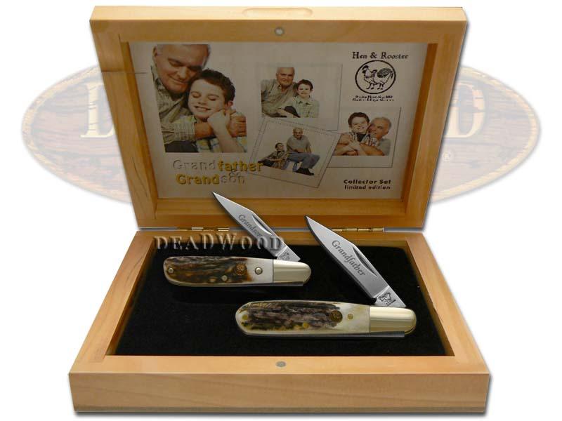 Hen & Rooster Grandfather Grandson Genuine Deer Stag Barlow Pocket Knife Knives Set