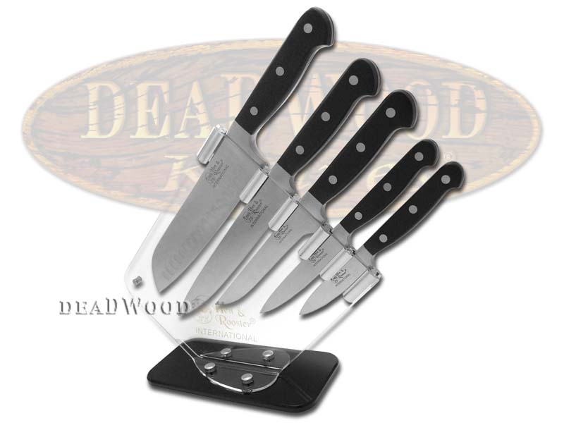 Hen & Rooster 6-Piece Kitchen Cutlery Full Tang Knife Set with Clear Block