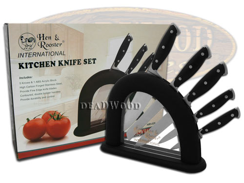 Hen & Rooster 6 Piece Black Synthetic Kitchen Cutlery Knife Knives Set