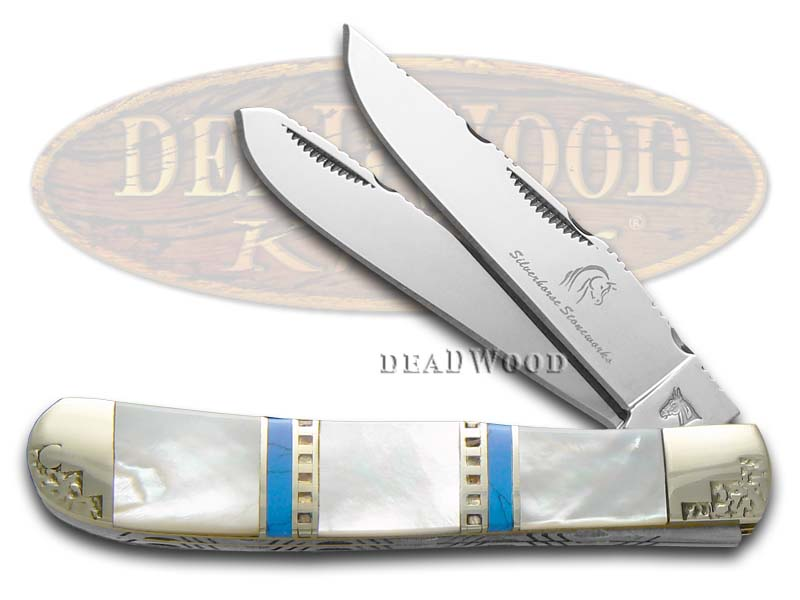 Silverhorse Mother of Pearl and Blue Turquoise Trapper Stainless Pocket Knife