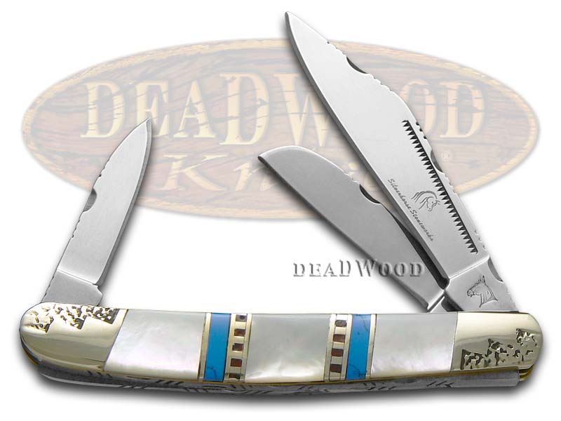 Silverhorse Mother of Pearl and Blue Turquoise Stockman Stainless Pocket Knife