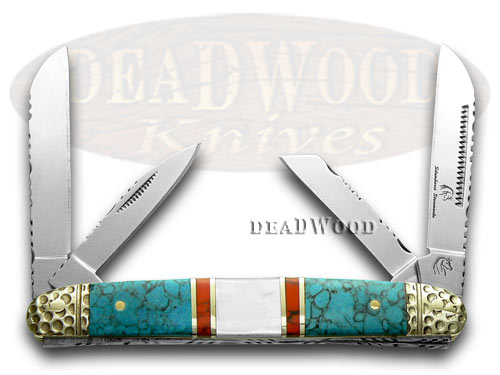 Silverhorse Stoneworks Blue Turquoise Mother of Pearl Congress Premier Pocket Knife