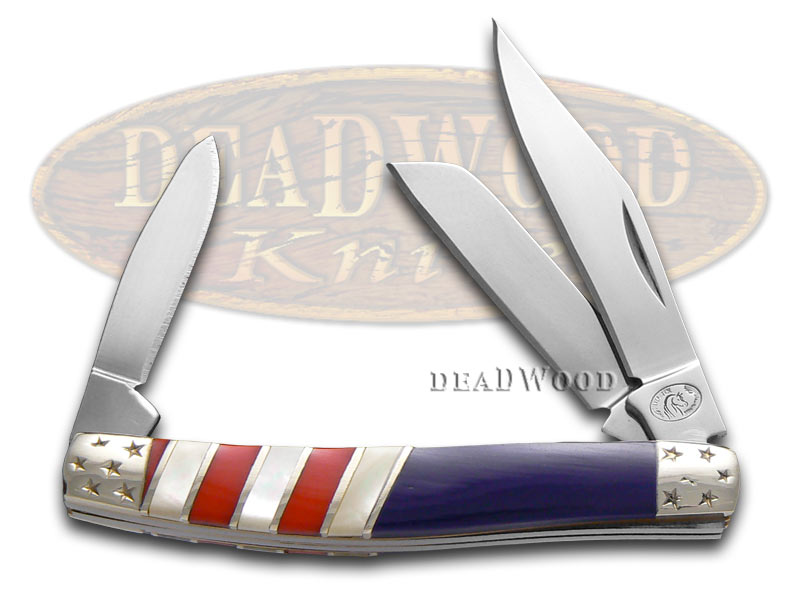 Silverhorse Exotic Stone American Flag Series Stockman Stainless Pocket Knife