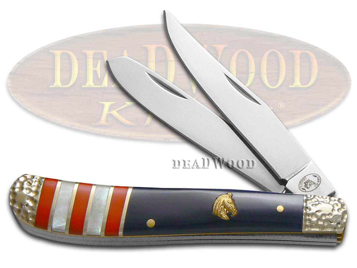 Silverhorse Exotic Stone American Flag Series Trapper Stainless Pocket Knife