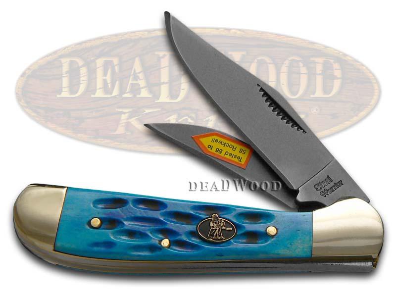 Steel Warrior Blue Pickbone Locking Copperhead Carbon Steel Pocket Knife
