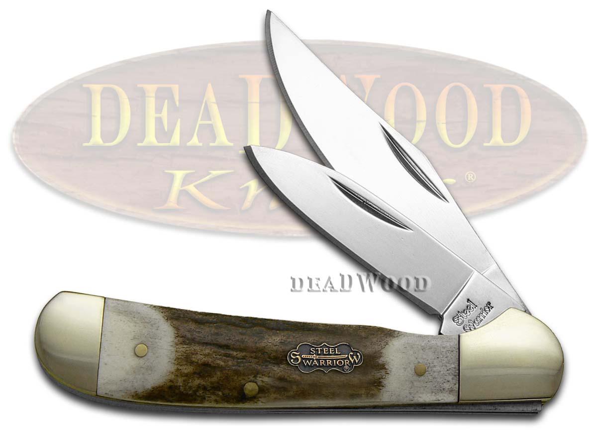 Steel Warrior Copperhead - Genuine Deer Stag Handles Pocket Knife