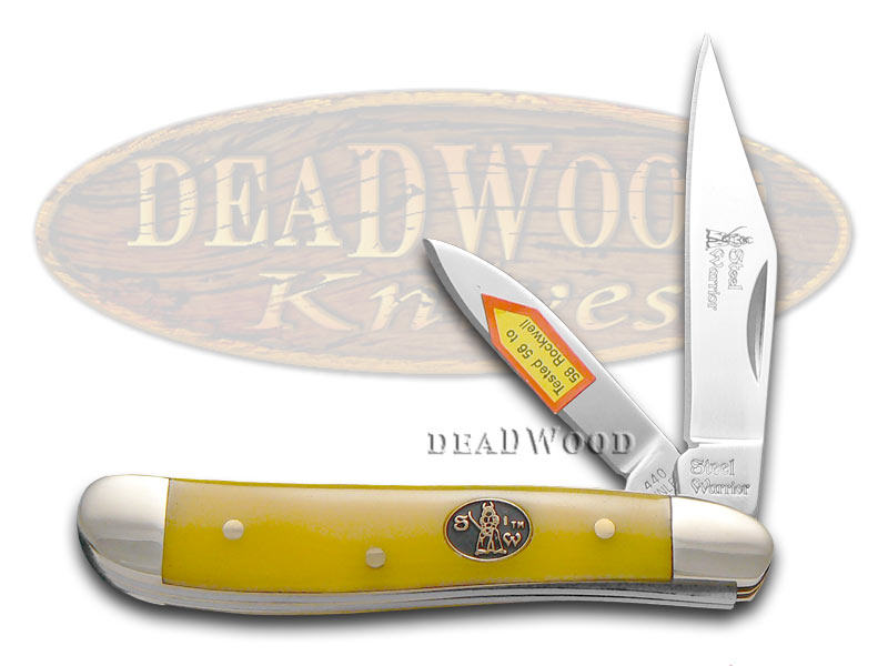 Steel Warrior Yellow Composite Peanut Stainless Pocket Knife Knives
