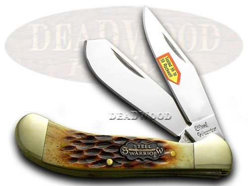 Steel Warrior Small Saddlehorn - Autumn Second Cut Jigged Bone Handles Pocket Knife