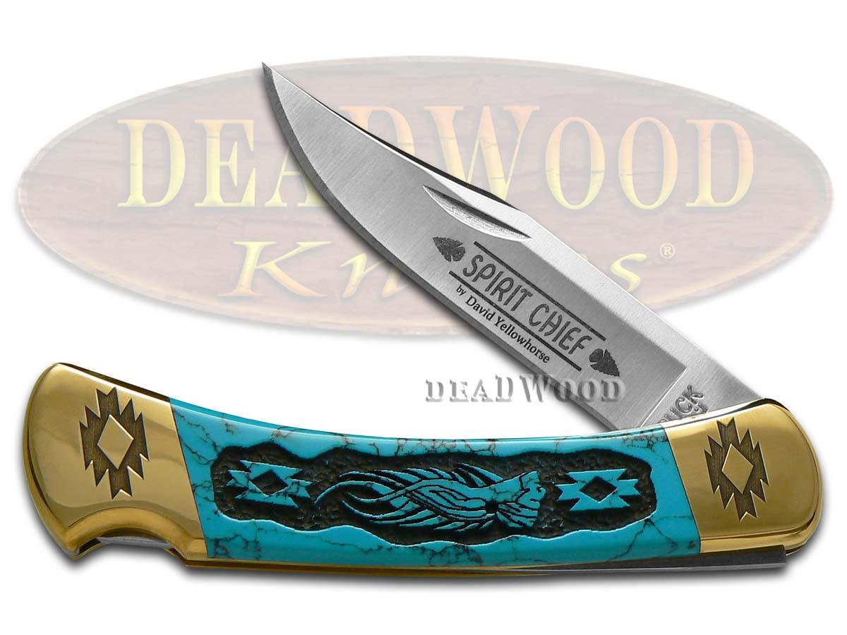 Buck 110 David Yellowhorse Turquoise Stone Spirit Chief 1/25 Stainless Pocket Knife