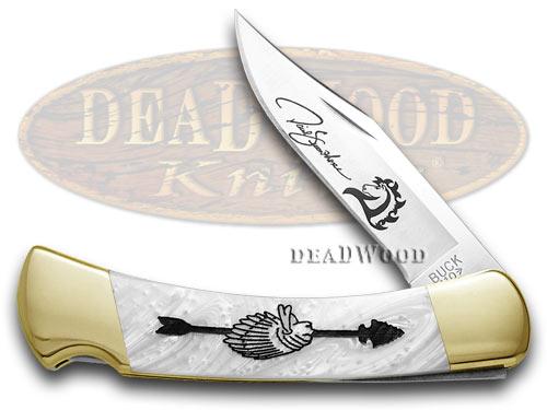 Buck 110 Yellowhorse Custom White Pearl Corelon Chief Arrowhead Pocket Knife1/100