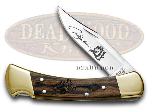 Buck 110 David Yellowhorse Chief Arrowhead Ebony Wood Folding Hunter 1/600 Custom Pocket Knives