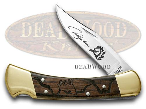 Buck 110 David Yellowhorse Wolf Valley Macassar Ebony Wood Folding Hunter 1/600 Custom Pocket Knives