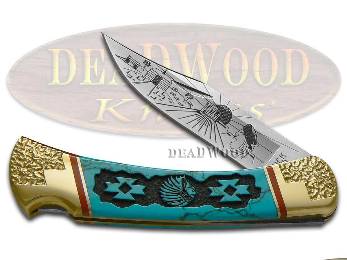 Buck 110 David Yellowhorse Navajo Land Blue Turquoise Stone Folding Hunter 1/25 Pocket Knife