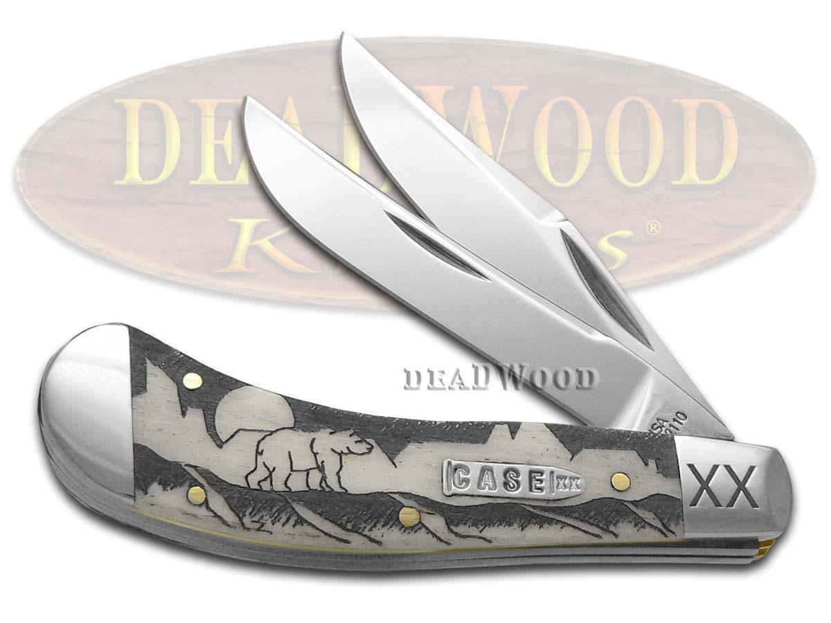 Case XX David Yellowhorse Grizzly Mountain Natural Bone Saddlehorn 1/500 Pocket Knife