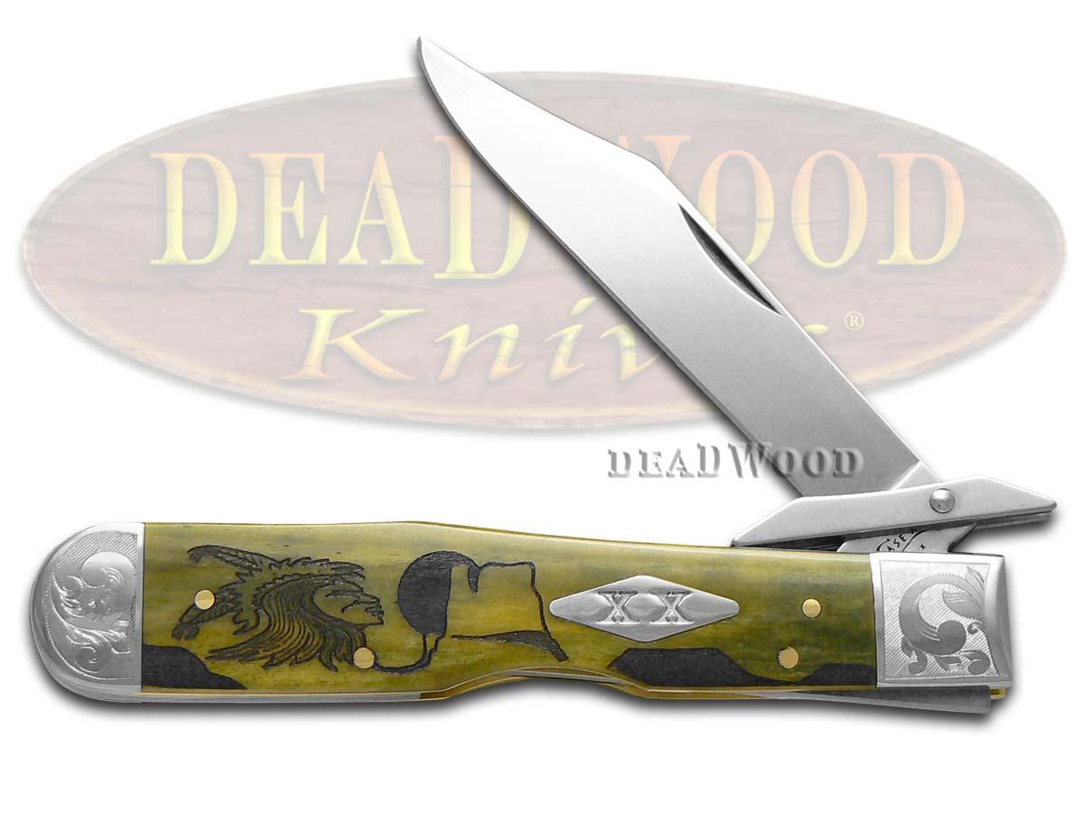 Case XX Yellowhorse Early Morning Singer Olive Green Bone Scrolled Cheetah 1/500 Pocket Knife