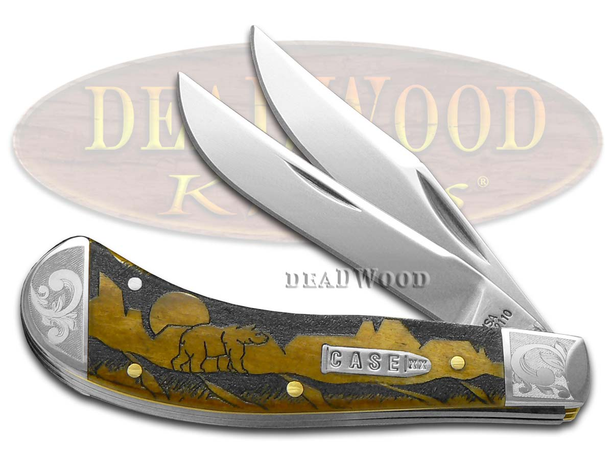 Case XX David Yellowhorse Grizzly Mountain Antique Bone Scrolled Saddlehorn 1/200 Pocket Knife