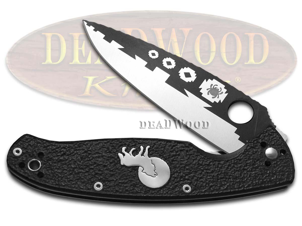 David Yellowhorse Spyderco Black G-10 Howling Wolf Resilience Liner Lock VG-10 Pocket Knife